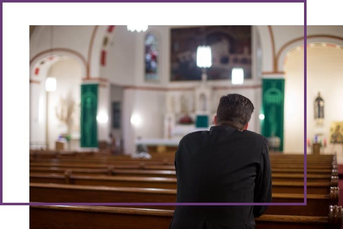 Man in church with purple overlapping border