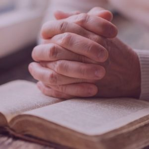 Hands praying on book filtered